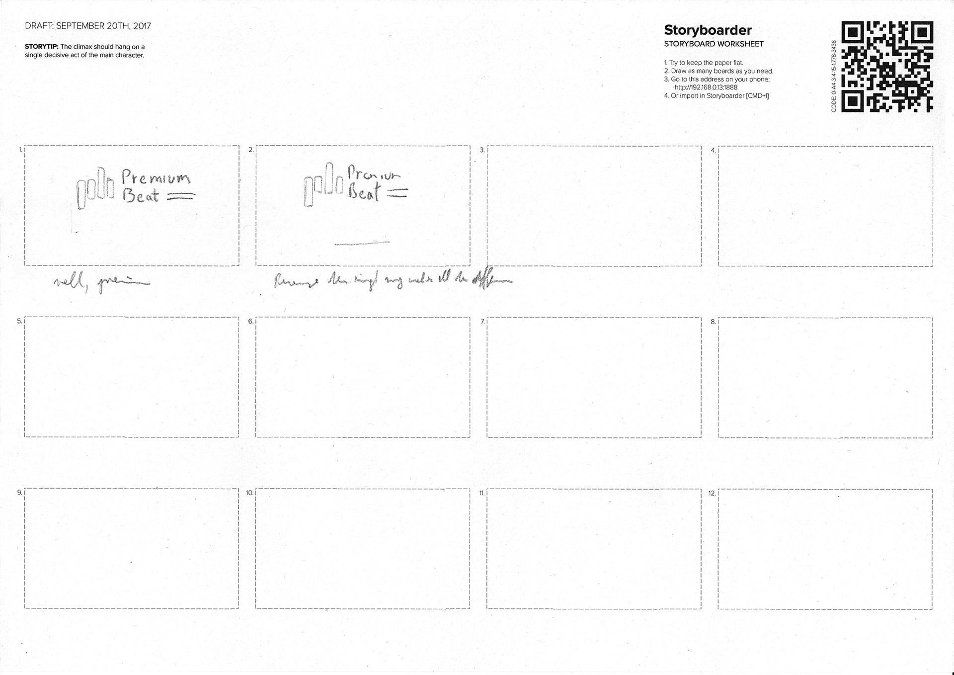 Premium Beat Storyboards